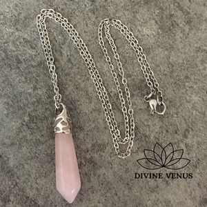 Rose Quartz Stainless Steel Chain Necklace